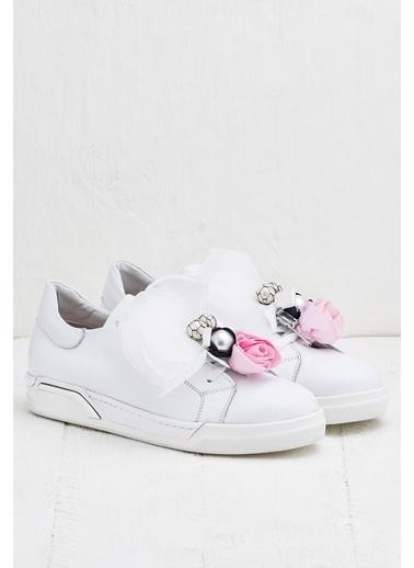 Elle %100 Deri Ayakkabı Beyaz